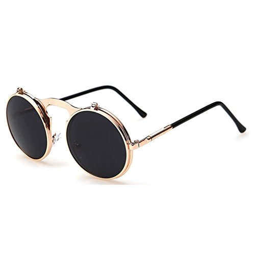 G&T 2016 Retro Fashion Metal Frame Clamshell Lens Round Beach Sunglasses(C6)