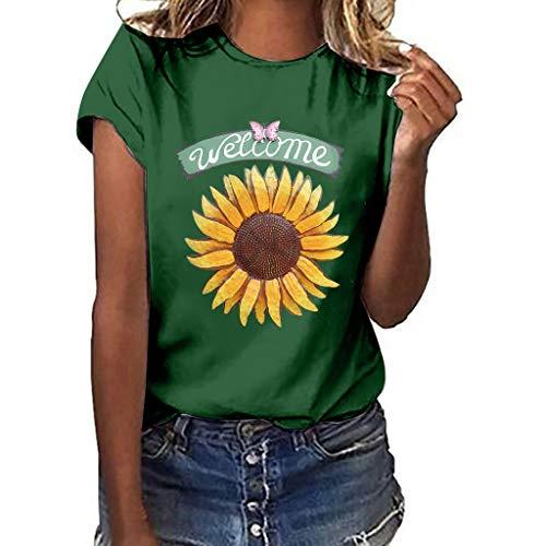 DondPO Sunflower T-Shirt Women Cute Funny Graphic Tee Teen Girls Casual Short Sleeve Tunic Shirt Tops Blouse Green