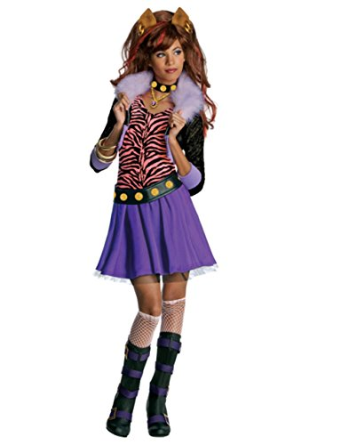 Girl Monster High Clawdeen Wolf School Werewolf Costume And Wig Bundle Small 4-6 (Official Monster High Costumes)