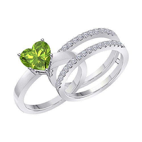 1.50 Ct Heart Shape Green Peridot & Simulated Diamond Enhancer Solitaire Engagement Ring 14k White Gold Plated Guard Wrap Jacket