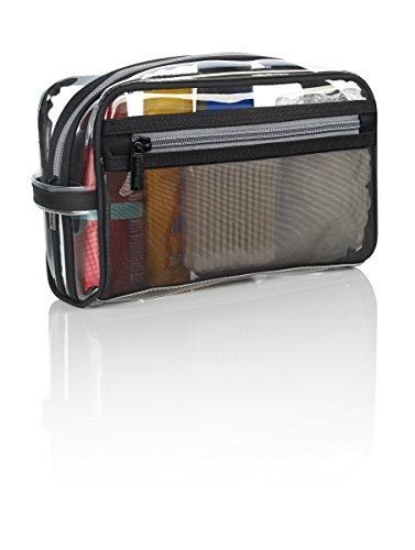 clear vinyl zippered cosmetic bag carry case. Black Bedroom Furniture Sets. Home Design Ideas