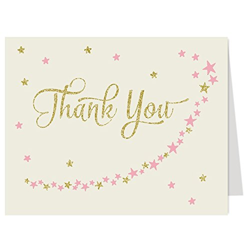 Baby Shower Thank You Cards, Twinkle Little Star, Glitter, Gold, Girls, Over the Moon, Wish Upon a Star, PInk, Blush, Sprinkle, Kids, 50 Folding Notes with Envelopes, Twinkle Star, Ivory - Little Pink Wish