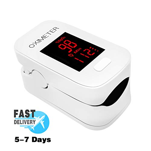 AXAYINC Fingertip Pulse Saturation Monitor Heart Rate Monitor with Alarm Setting LED Display. (White)