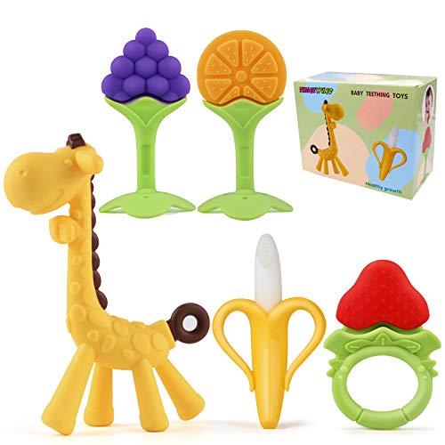 Baby Teething Toys, 5Pcs BPA Free Teething Toys Set Teethers for Babies 0-6 Months Freezer Safe Silicone Teethers Baby Gift Teething Toys for 6-12 Months Newborn Boy & Girls