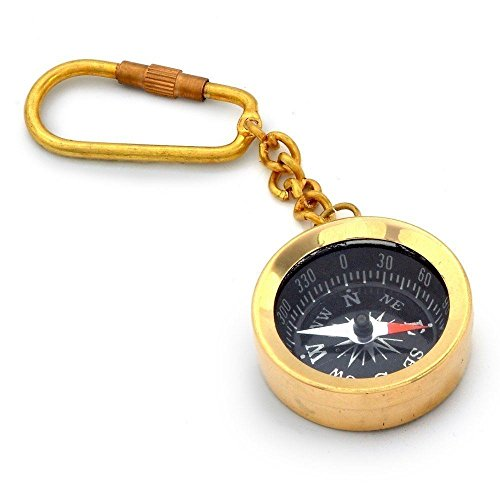 Brass Compass Key Chain- Collectible Marine Nautical Key Ring from Brass Blessing - Collectible Blessings