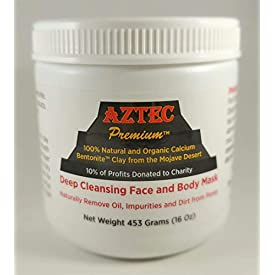 Aztec Premium Deep Cleansing Face & Body Mask Powder | 1 lb. | 100% Natural & Organic Calcium Bentonite Clay (with tamper proof seal)