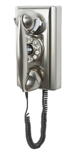 Crosley CR55-BC Wall Phone with Push Button Technology, Chrome (Wall Corded Telephone)