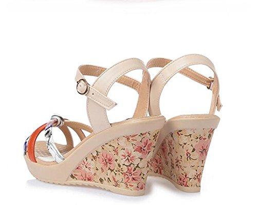 L@YC Girls Women Summer Sandals Sandals Leather Thick Casual Comfort High Heel Waterproof Platform, red, 38