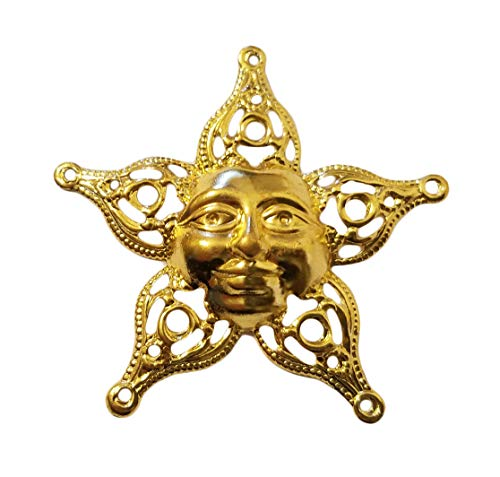 Gold Smiling Sun Charm - 58mm Gold Metal Filigree Smiling Sun Charms Jewelry Findings (Pack of 10)