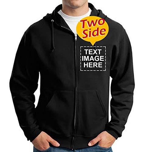 Custom Full Zip Hoodies Sweatshirt for Men Design Your Own Two-Sided Printed (XXL, Black (Full-Zip))