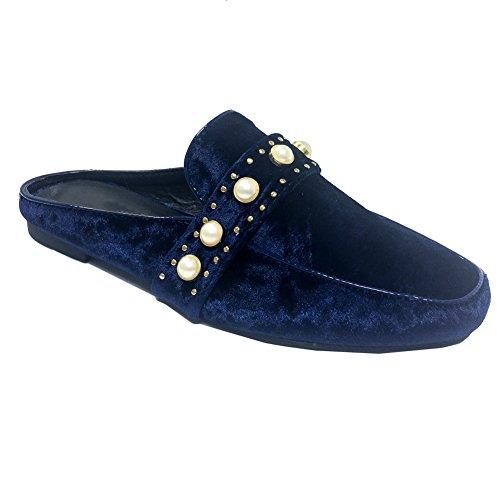 SNJ Women Mule Oxford Slide Slip On Flat Sandal Shoe Loafer Pearl Navy Velvet zIwuS