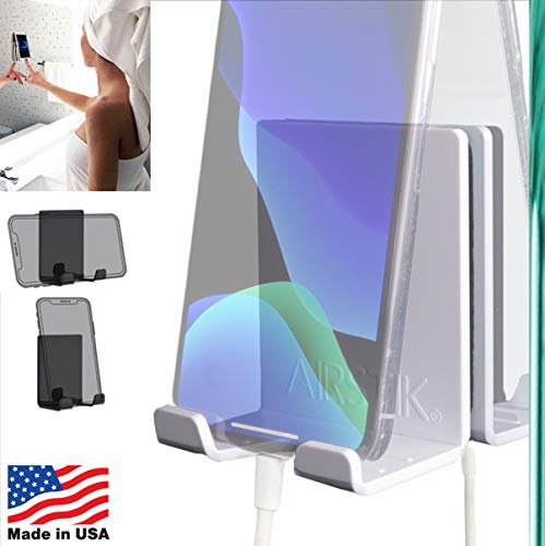 AIRSTIK Cradle for Any Phone Tablet Pad Holder Selfie Caddy Mount Shelf - Adhered Mirrors Bathroom