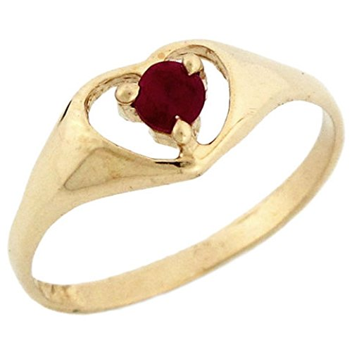 Jewelry Liquidation 10k Yellow Gold January Birthstone Simulated Garnet Heart Baby Ring ()