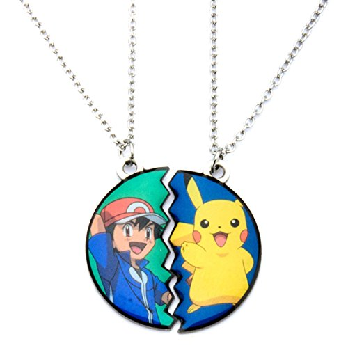 [Pokemon Pikachu and Ash Ketchum Pendant with Chain Necklace Stainless Steel] (Slowpoke Costume)