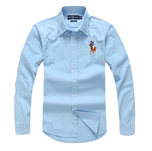 Polo Ralph Lauren Men's Long Sleeve Shirt with Embroidery (L, Sky Blue)
