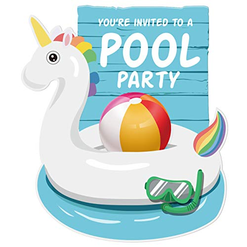 30 Unicorn Summer Swim Pool Party Invitations with Envelopes | Boys or Girls Pool Party Supplies | Summertime Birthday Celebration Invitation Cards -