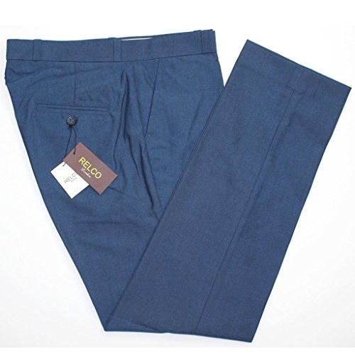 Men's Relco Classic Blue Tonic Stay Press Trousers Size 32