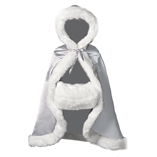 Flower Girl Cape Winter Wedding Cloak for Infant Junior Bridesmaid Hooded Reversible Silver 32 ()