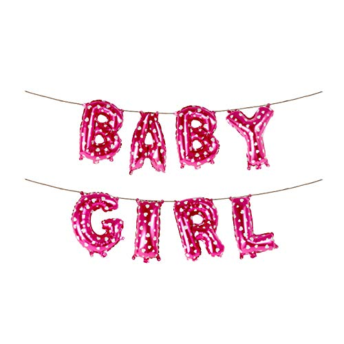 Treasures Gifted Hot Pink Baby Girl Banner Girl Baby Shower Decorations 16 Inch Heart Shape Foil Letter Balloons Gender Reveal Birthday Bunting Garland
