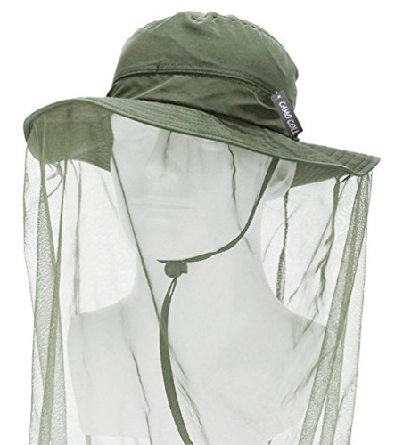 Camo Coll Outdoor Anti-mosquito Mask Hat with Head Net Mesh Face Protection (Army Green, One Size)