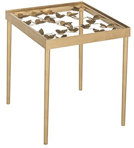 Safavieh FOX2594A Home Collection Rosalia Butterfly Side Table, Antique Gold (Antique Library Table)