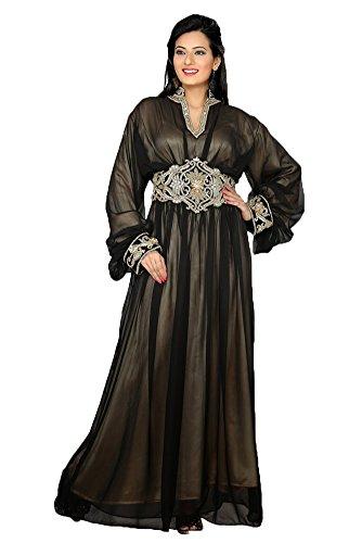 Palas Fashion Women's Party Wear Abaya Kaftans Maxi Dress X-Large Black