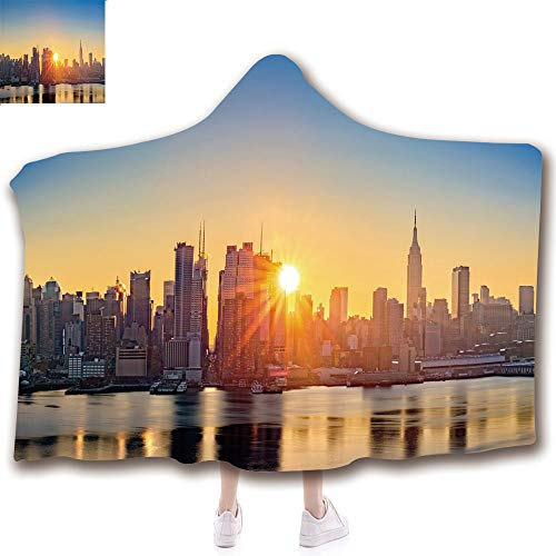 Fashion Blanket Ancient China Decorations Blanket Wearable Hooded Blanket,Unisex Swaddle Blankets for Babies Newborn by,Manhattan United States NYC Waterfront America,Adult Style Children Style -