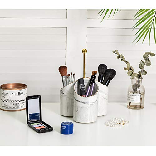 HAWOO Makeup Brush Holder Organizer, 3 Compartment Container, Cup Storage Cosmetic Tools for Vanity Countertops, Perfect for Makeup Brushes, Eyeliners and Mascaras, (White Ceramic)