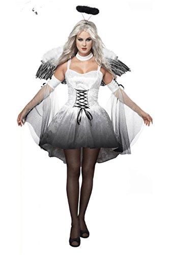 [Kize2016 Fallen Angel Halloween Cosplay Angel Of Darkness Costume Hens Dresses With Wings] (Fantasy Life Angel Costume)