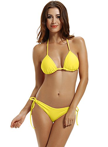 zeraca Women's Plus Size Tie Side Bottom Triangle Bikini Swimsuits (XL18, Neon (Back Bottom Tie)