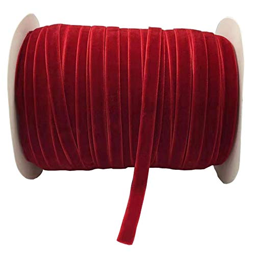 10 Yards Velvet Ribbon Spool Available in Many Colors (Red, 3/8