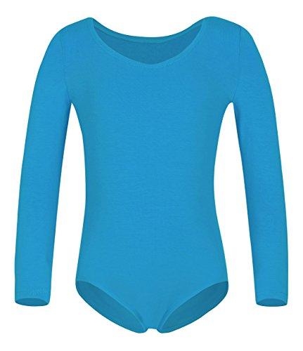 YEEIC Girls' Classic Long Sleeve Leotard (8-10, Blue)