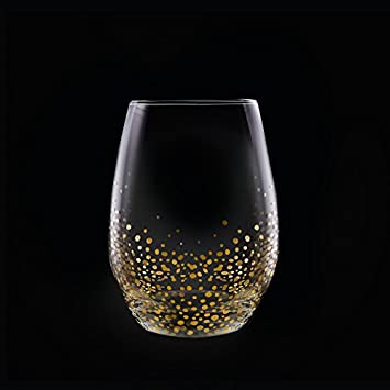 Fitz and Floyd Luster Stemless Glasses Set of 4 , Gold