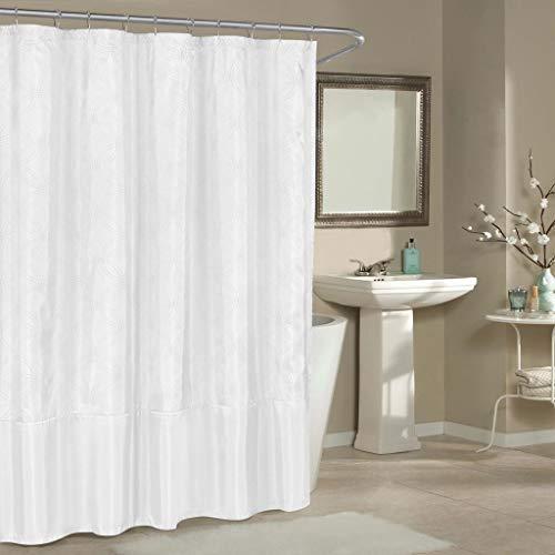 Duck River Textiles - Belle Metallic Pin Dot Mildew Resistant Fabric Shower Curtain Liner For Bathroom Waterproof | Water Repellent & Antibacterial - Assorted Colors - (70 X 72 Inch - White)