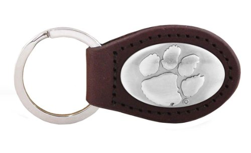 NCAA Clemson Tigers Brown Leather Concho Key Fob, One Size