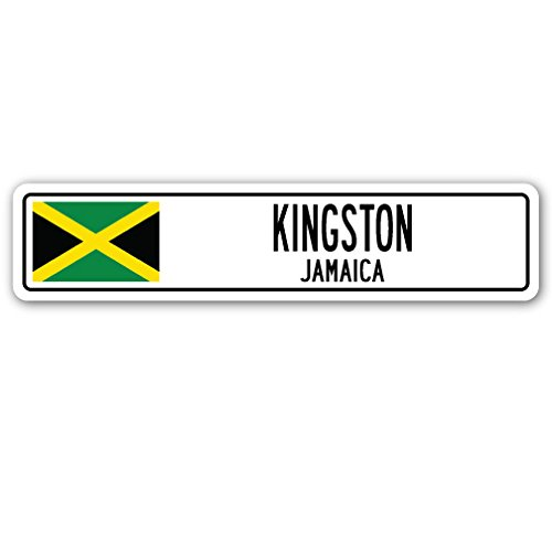 Kingston, Jamaica Street Sign Jamaican Flag City Country Road Wall -