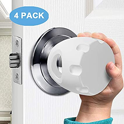 Door Knob Safety Cover 4Pack Child Proof Door Knob Covers Baby Safety Doorknob Handle Cover Lockable Design.
