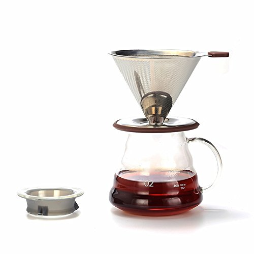 WeCollection Pour Over Coffee Dripper 1~4 Persons, Full Set with Glass Dispenser, Food Grade Stainless Steel Filter Paperless