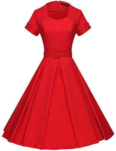 Red 50s Dress - GownTown Women's 1950s Retro Vintage Party