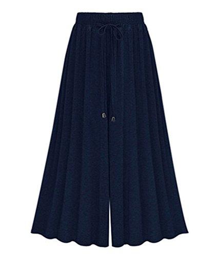 Forti Donna Pantaloni Harem Casual Lunghezza Yilianda Blu lungo Taglie Elasticizzato RqWdnCE