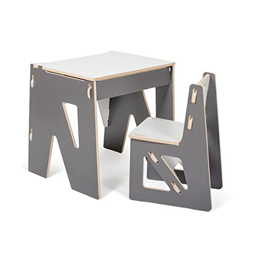Grey Modern Kids Desk and Chair with Storage, American Made by Sprout