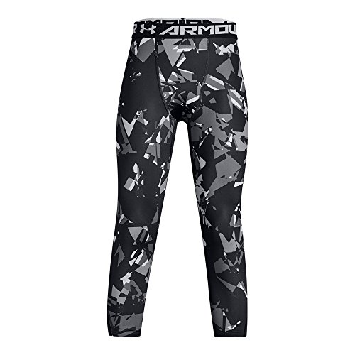 Under Armour Boys' HeatGear Armour  Printed Leggings,Black (002)/White, Youth Large