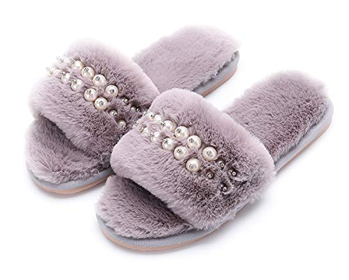 - Women's Fuzzy Fluffy Furry Fur Slippers Flip Flop Open Toe Cozy House Memory Foam Sandals Slides Soft Flat Comfy Anti-Slip Spa Indoor Outdoor Slip on (03/Grey, 9-10 N US)