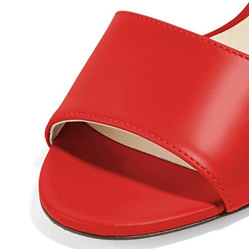 Fsj Mujeres Casual Peep Toe Sandalias De Mula Tacones De Aguja Zapatos De Noche De Fiesta Tamaño 4-15 Us Red