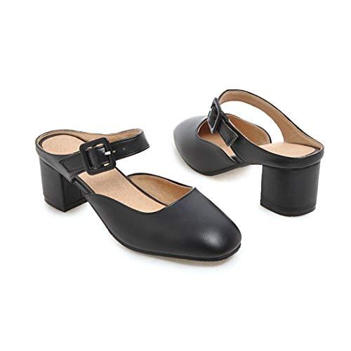 (AERICKON Women's Closed Toe Heeled Slides Sandal Adjustable Buckle PU Upper Arch Support Block Heel Loafers Black)