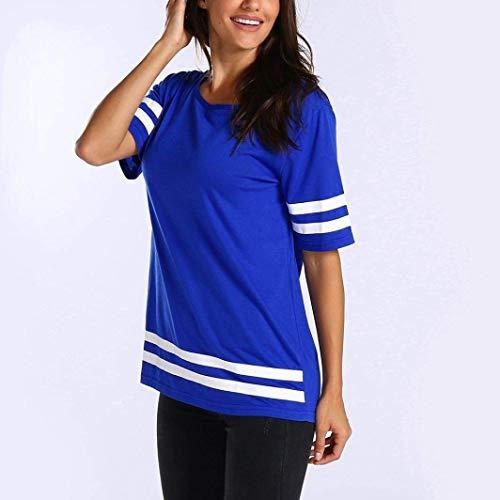 Courtes Sport Manches Blau Chic O Col Costume Femme Fille Shirts Basic Shirt Elgante Et Large Tee Haut Shirt Ar Loisir Iqp8HpX