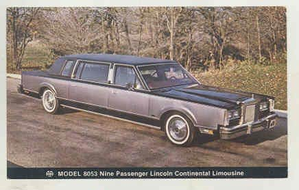 1980 Lincoln Continental Aha Limousine Factory Postcard Canada At
