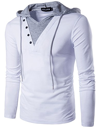 T-shirt Long Hooded Sleeve Layered (Whatlees Mens Casual Slim Fit V Neck Long Sleeve T Shirt with Hooded/Hoodies Tops T17-White Small)