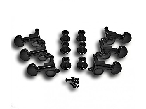 Mini Rotomatic Guitar Tuners (Grover 205BC Mini Rotomatic Tuners, 3-Per-Side, Black Chrome)