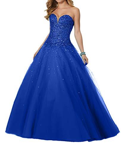 Festlichkleider Braut Herzausschnitt La Partykleider Rock Pailletten Abendkleider Blau A Luxurioes Linie mia Royal Abschlussballkleider 85R5H